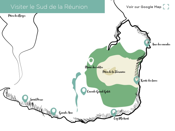Carte sud Réunion