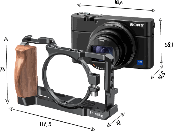 Dimensions Sony RX 100 VII cage small rig